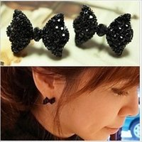 De haute qualité Nouveau Jewerlry Fashion Vintage Full Black Crystal Bow Stud Earrings Retro Gift Wholesale