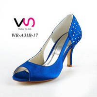 Wholesale Navy Blue Pumps For Women - Blue Color Dyeable Satin 8cm Heel Color Pump Elegant Style Women Bridal Shoe Wedding Dress Shoes Handmade Shoe for Wedding With Rhinestones