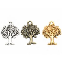 Wholesale Bronze Pendant Life - Life of Tree Charms Pendants Antique Silver Gold Bronze Findings For DIY Jewelry Making Bracelets Necklaces 50pcs lot