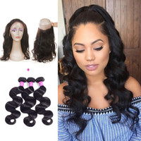 Wholesale Virgin Remy Body Wave Bulk - Ushine 360 Lace Closures With 3 Bundles Brazilian Virgin Hair Weaves Malaysian Indian Peruvian Brazillian Body Wave Remy Human Hair wefts