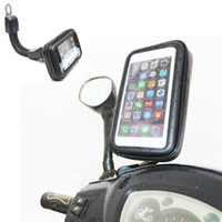 Wholesale Motorcycle Iphone Waterproof - DHL Free Motorcycle Waterproof Cell Phone Case Bag Motorbike Rearview Mirror Mount Holder for Samsung for Iphone