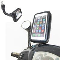 motorradhalterung iphone fall großhandel-DHL-freies Motorrad-wasserdichte Handy-Kasten-Beutel-Motorrad-Rückspiegel-Berg-Halter für Samsung für Iphone