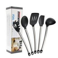 Wholesale Serving Tools - 5Pcs Set Home Goods Kitchen Utensils Cooking Tools Set Dark Silicone And Stainless Steel Handle Serving Baking By Hearth
