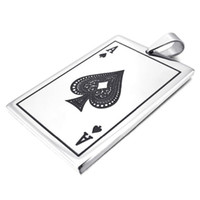 Wholesale Poker Card Necklace - Men's Silver Ace of Spades Poker Card Punk Rock Style Stainless Steel Pendant Necklace -with 23 inch Chain