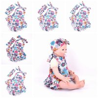 Wholesale Knitted Headband Patterns - 2016 New Summer Baby Rabbit ears headband Girls Dresses Romper plus Cross headband combination Set pink flower Pattern Kids Girl knit skirt