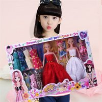 Wholesale Two Years Kids Girl Dress - Kids Playmate Barbie Doll Baby Christmas Gift Children Dolls Gifts Girls Two Princess Two Baby Fourteen pcs Dresses a Set 80 Complimentary