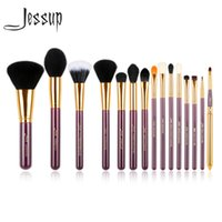 Wholesale purple lip resale online - Jessup Pro Makeup Brushes Set Powder Foundation Eyeshadow Eyeliner Lip Brush Tool Purple And Gold Cosmetics Tools