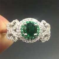 Wholesale Jewlery Silver Rings - Fine Jewlery Brand 100% silod Sterling silver Diamond CZ ring Luxury 1.2ct Emerald gemstone ring Engagement wedding bried ring for women