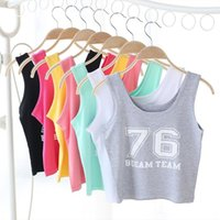 Wholesale Letter Navel - 2017 Summer New High Quality Navel Vest Shorts 76 Digital Female crop tank sexy top women cropped Cotton croped feminino