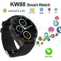 KW88 Android 3G Bluetooth Smart Watch Phone MTK6580 Quad Core 4G ROM Smartwatch 2.0MP Câmera SIM Wifi GPS Monitor de frequência cardíaca para iOS Android