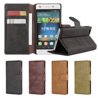 Wholesale Galaxy Wallet Retro - Retro Matte Leather Wallet Pouch Case For Samsung Galaxy A310 A510 2016 A3 A5 Huawei P8 Lite Mini S7 Edge Frosted Stand Hard Cover 1pcs