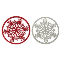 Wholesale Wool Table Mat - 20pcs Christmas Snow white and red Doily cup mat pad coaster Tableware for home table decoration Household Supplies