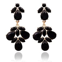 Wholesale Evening Jewelery - Fashion On Sale Black Evening Fine Jewelery Summer style Crystal Gold Dangle Earrings for women