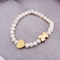 Wholesale High Strung Beads - CL Wholesale 1pcs New design high quality stainless steel heart charms elastic strings shell pearls beads bears Women gift bracelet