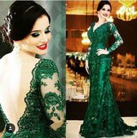 Wholesale Vintage Green Dresses - Emerald Green Lace Mermaid Arabic Evening Dresses 2017 Vintage V Neck Appliqued Beaded Long Sleeve Prom Dresses Plus Size Formal Gowns