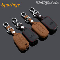 2014 KIA Sportage Car portachiavi Genuine Leather Case Cover chiave Fob per 2009- 2013 2014 2015 catena chiave Sportage Accessori auto