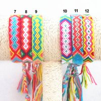 Wholesale Wristbands String - Hot Selling Vintage Fashion Hippy Boho Surf Wristband Women Jewelry Bracelet Rainbow Handmde Cotton String Rope Friendship Bracelet