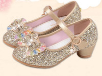Wholesale Kids Pink High Heels - New Children Princess Pearl Beading Sandals Kids Flower Wedding Shoes High Heels Dress Shoes Party Shoes For Girls Pink G946