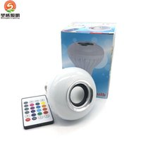 Wholesale Wholesale Bluetooth Speakers Remote - 11.11 Shopping Festival E27 LED Bulbs Wireless Bluetooth 6W LED Speaker Bulb RGBW Music Playing Lighting With 24 Keys IR Remote Control