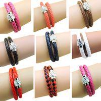 Wholesale Cheap Bulk Bracelets - Leather bracelets for women double layer PU bracelets bangles with crystal buckles 14 colors jewelry cheap bulk price