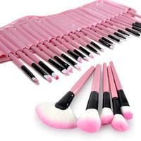 set de brosse à maquillage rose 32pcs achat en gros de-Pro 32Pcs ROSE Sac Sacoche Supérieure Douce Cosmétique Maquillage Brosse Set Kit # T701