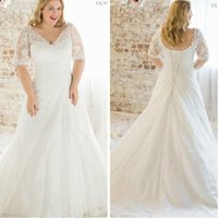 Wholesale Wedding Dresses 28 - 2016 New Plus Size Lace Short Sleeve Wedding Dress White Ivory A Line Chiffon Bridal Gown Custom Size 2 4 6 8 10 12 14 16 18 20 22 24 26 28