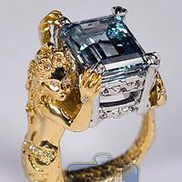 Wholesale Diamond Aquamarine Engagement Rings - GIA 18K Yellow Gold Platinum 7.59 ct Aquamarine Diamond Womens Mermaid Ring