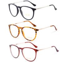 marcos de gafas unisex de metal redondo al por mayor-Retro Moda 2016 Gafas Mujeres Gafas Vintage Redondo Lente Transparente Marco Piernas de Metal de Alta Calidad Unisex Llanura Gafas Gafas