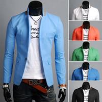 Wholesale Shiny Slim Fit Suits - M-4XL Plus Size Casual Men Blazers Multi-color Stand Collar Fashion Blazers For Men Single Button Solid Slim Fit Men Shiny Suits J160442
