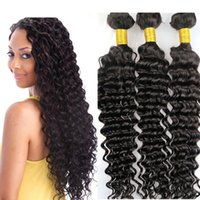 Wholesale Indian Curly Hair Wefts - Brazilian human hair weave Virgin hair bundles Deep wave curly wefts 8-34inch Unprocessed Malaysian Peruvian Indian Human hair extensions