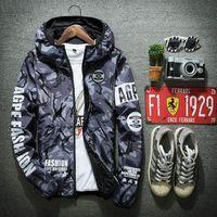 Wholesale Korean Frocks - Men tide thin jacket Korean Slim camouflage hooded jacket young men's cas 1157 c51ual frock coat