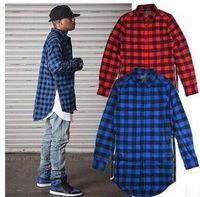 Wholesale Tyga Shirts - new casual Mens autumn spring Style Tyga Swag Hip Hip KANYE WEST Top Shirts Red Black Blue Plaid Side zipper Urban shirt