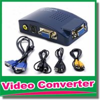 Hot VGA-TV-Konverter-Adapter VGA AV TV RCA S-Video-Monitor-Konverter-Schalter-Kasten DHL-freies OM-CG8
