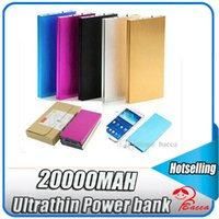 Wholesale External Battery Silver - 20000mAh Ultrathin Portable External Battery Charger Power Bank for Cell Phone Purple Gold Silver Black for iphone6s 6s plus iphone7 7plus