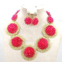 Wholesale Ivory Rhinestone Necklace - african jewelry sets fushia color dubai gold jewelry set 18k gp handmade match for fushia nigerian aso oke headtie wrap