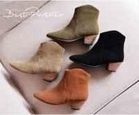 Wholesale Short Wedding Dress Boots - 2016 Spring Autumn Ankle Boots For Women Medium Heel 100% Genuine Nubuck Leather Women's Ankle Boot Fashion Short Martin Shoes,size34-41