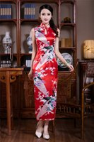 ingrosso stampa di pavone in chiffon-Shanghai Story Nuovo arrivo Faux seta lungo abito cheongsam Peacock stampa abiti da sera Tradizionale abito cinese qipao abiti sexy 4 colori