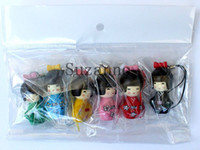 Wholesale Kokeshi Wholesale - 60 pcs Japanese KOKESHI Doll with KIMONO Figure Model Key Chain With Straps For Holder mobil phone handbag keychains