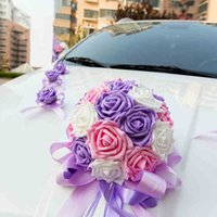 2017 Nouveau ruban Bowknot Pe Rose Flower Wedding Car Flowers Decoration Set Flower Garland Pull Flower Red Purple Couleur