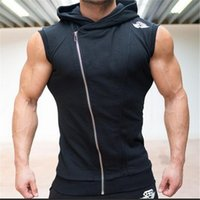 Wholesale Neck Thermal Vests - 2017 Free Shipping Top Quality Famous Brand Mens Hooded Cotton vest mens thermal reversible cotton padded vest