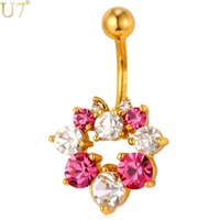 Wholesale navel rings gold - unique Gold Crystal Flower Navel Ring Women Body Jewelry 18K Gold Plated   Platinum Trendy Gift Beach Party Belly Button Ring DB003