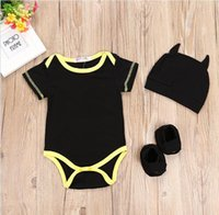 Wholesale Girl S Baby Shoes - Baby Romper Cartoon Baby Boys Girl Clothing Romper+Hat+Shoe cover 3 Pcs Sets Black Cotton Clothing 4 s l