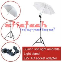 Wholesale Flash Light Stand Umbrella Kit - 20 pieces photo stuido photography set -2m light stand + E27 AC socket adapter+Flash Soft Translucent Umbrella
