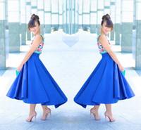 mavi yüksek alçak etek toptan satış-Zarif Royal Blue High Low Etek 2017 Yeni Moda Saten Ruffle Kadın Etek Özel Made Cheap Party Etek Ücretsiz Nakliye