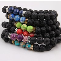 bracelets pour hommes balance en or achat en gros de-Ordre mélangé Naturel Noir Pierre De Lave Bracelets Chakra Guérison Équilibre Perles Bracelet pour Hommes Femmes Stretch Yoga Bijoux