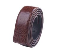 Wholesale Mens Leather Belts Sale - 1PCS Fashion Crocodile Pattern Mens Leather Belt 3.5cm Without Buckle (3 colors ) for sale free shipping