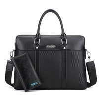 Barato Maleta De Homens Pretos-NOVO 2017 Black Tote Men's Fashion Male Set Business briefing para homem de alta qualidade Designer Bag PU Leather Briefcase