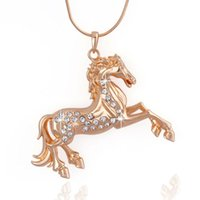 Wholesale Decorating Charms - New Fashion Lady Alloy Crystal Necklace Stylish Horse Decorated Choker Pendant Charms Jewelry Gift Fashion Accessories