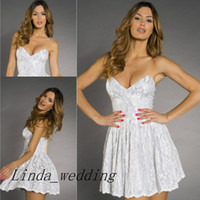 Wholesale Sexy Baby Doll Pink - Free Shipping New White Holt Lucia Lace Cocktail Dress High Quality Sweetheart Baby doll Party Gowns