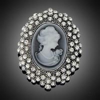 ingrosso spilla del rhinestone della regina-Moda argento antico placcato spilla d'epoca pin femminile gioielli di marca regina spille strass per le donne regalo di natale DHH093